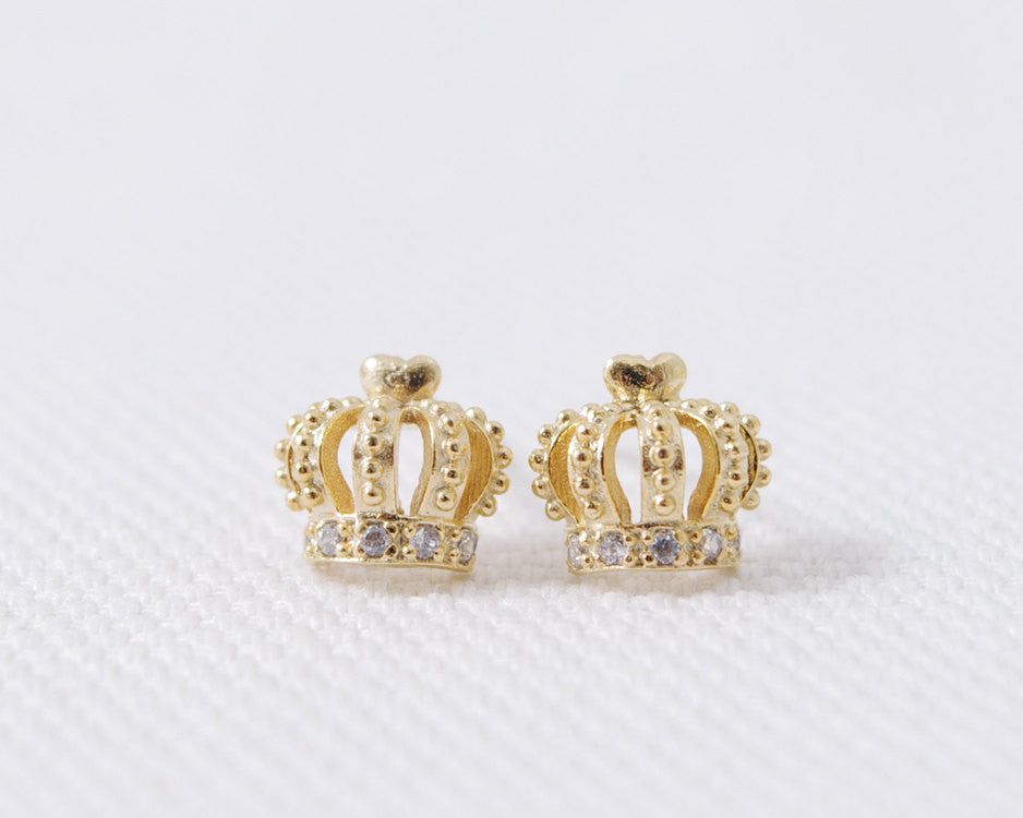 CZ Royal Crown Stud Earrings