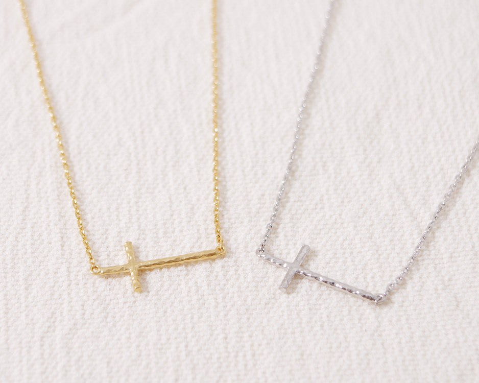 Sideways Hammered Cross Necklace