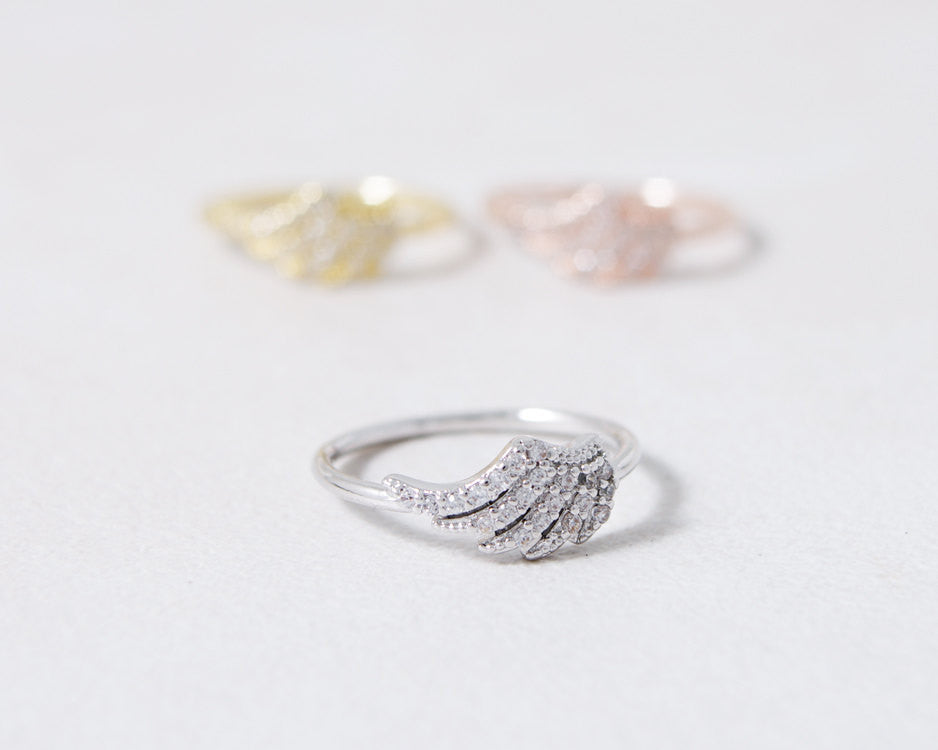 CZ Angel Wing Ring