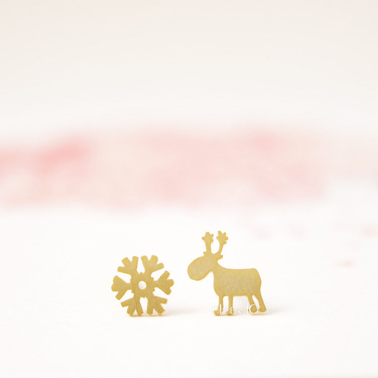 Rudolf and Snowflake Stud Earrings