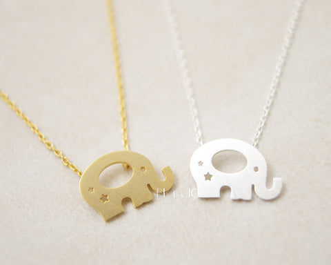 Elephant with Stars Necklace