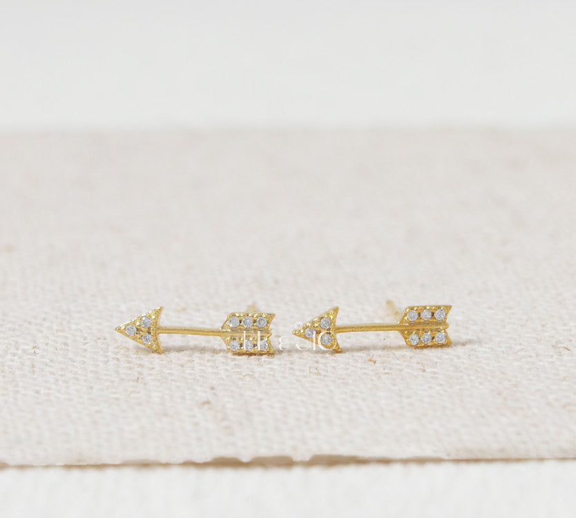 Sterling Silver CZ Arrow Stud Earrings