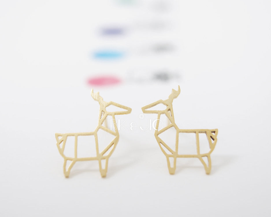 Origami Deer Stud Earrings