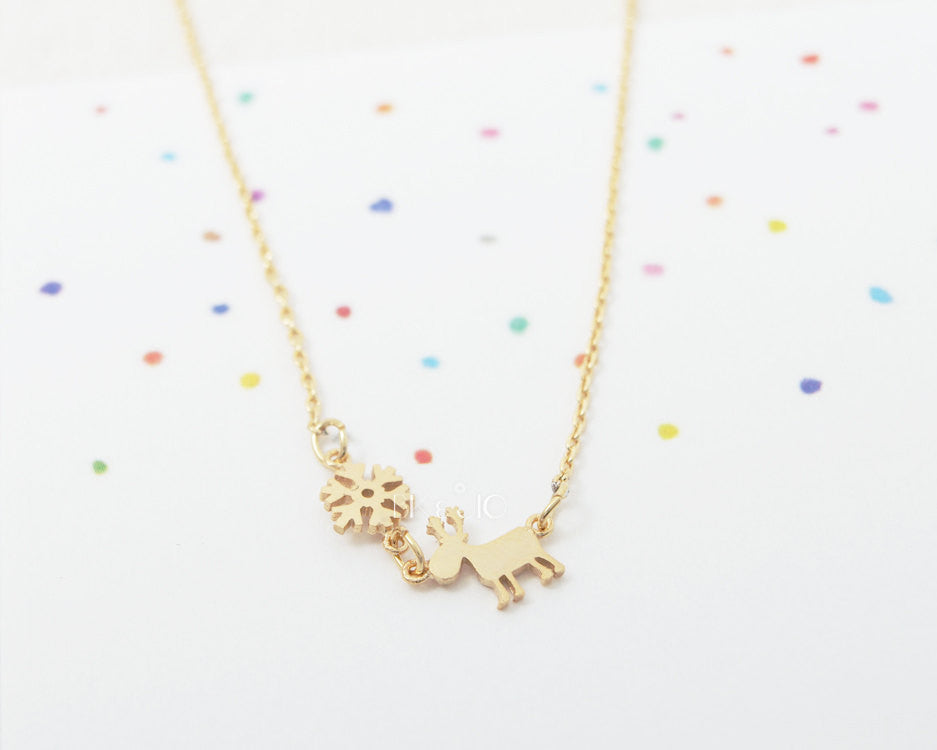 Rudolf and Snowflake Necklace