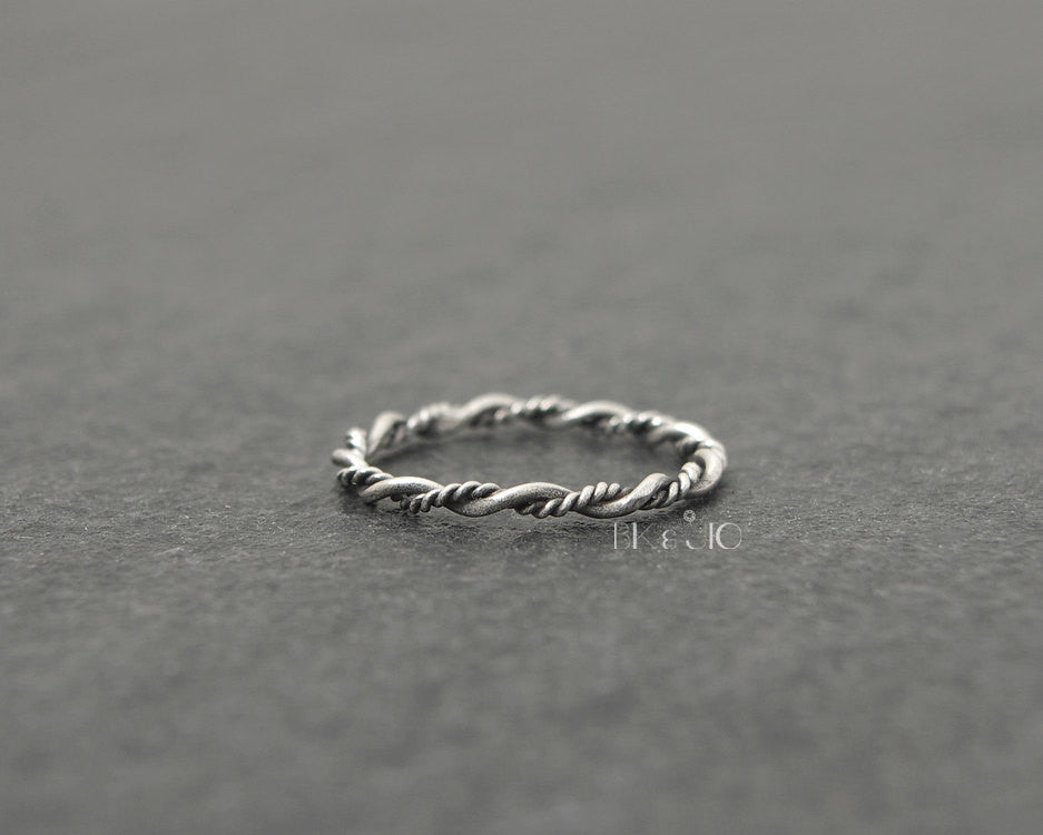 Sterling Silver 3 Wire Twisted Knuckle Band Ring