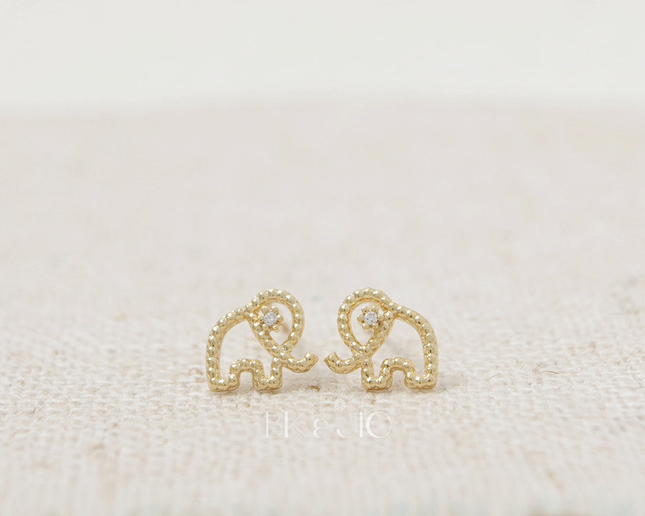 Tiny CZ Eyed Elephant Stud Earrings