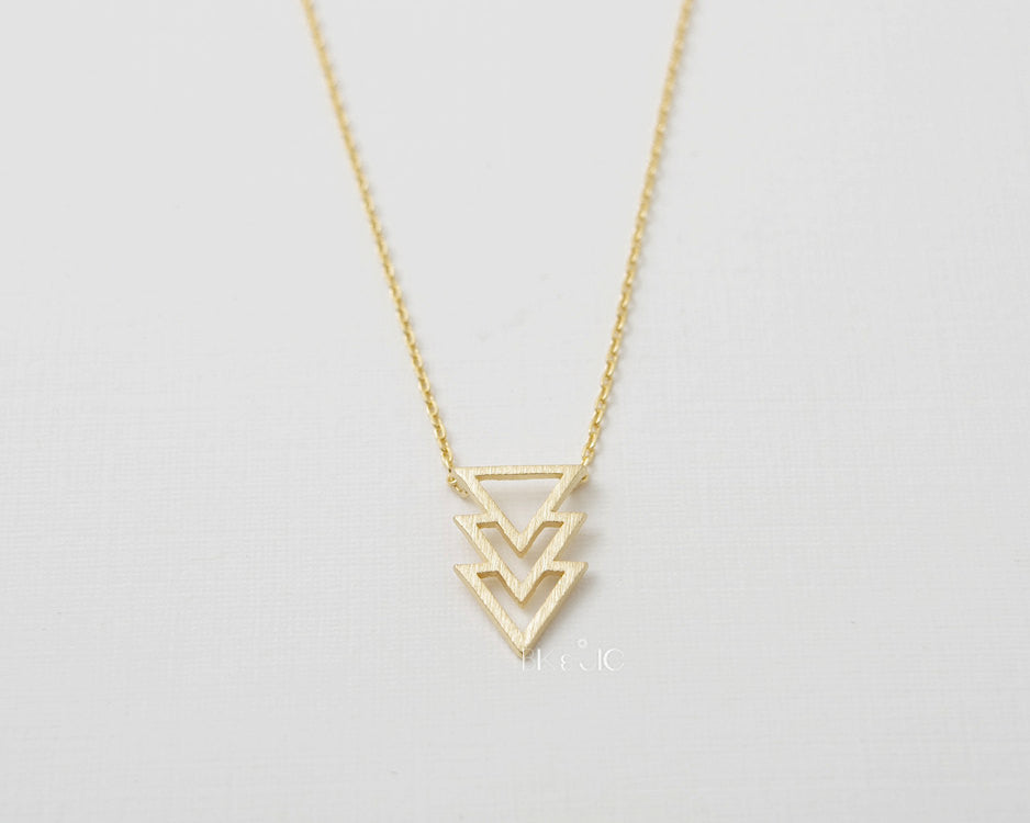 Triple Stacked Triangle Necklace