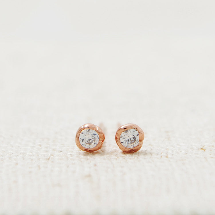 Sterling Silver CZ Rose Shaped Stud Earrings
