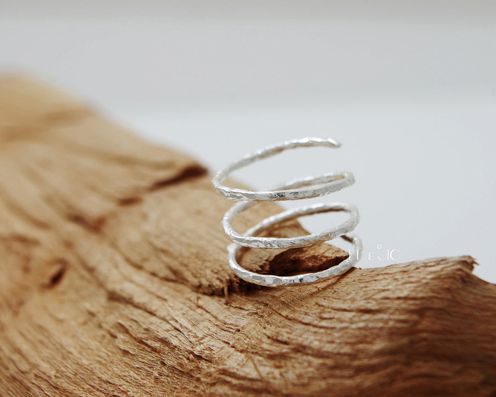 Sterling Silver Hammered Spring Ring