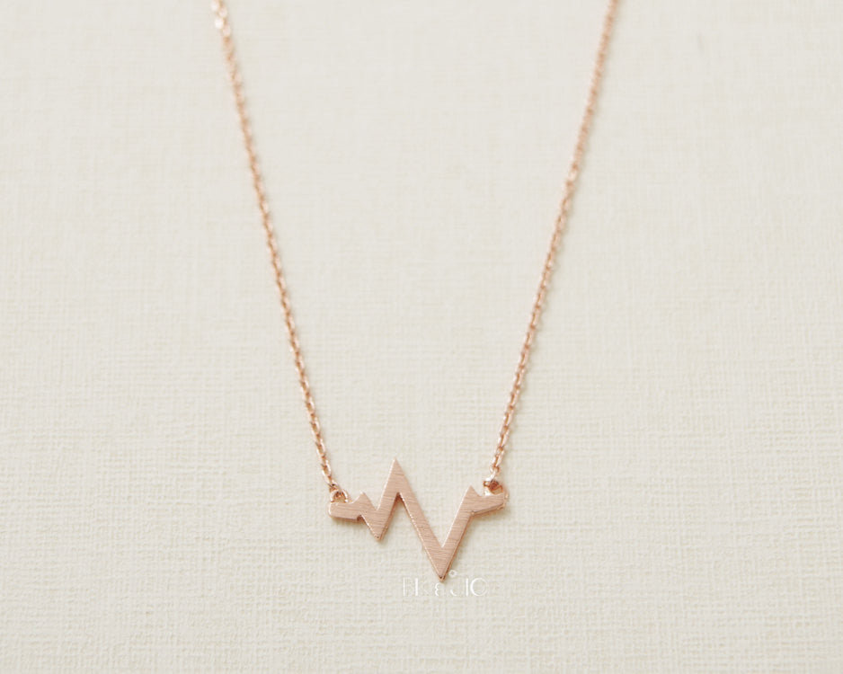 Brushed Heartbeat Necklace