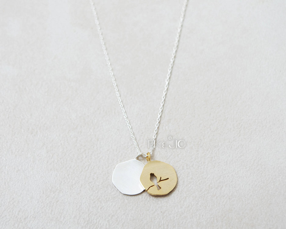 A Bird on Double Coins Necklace