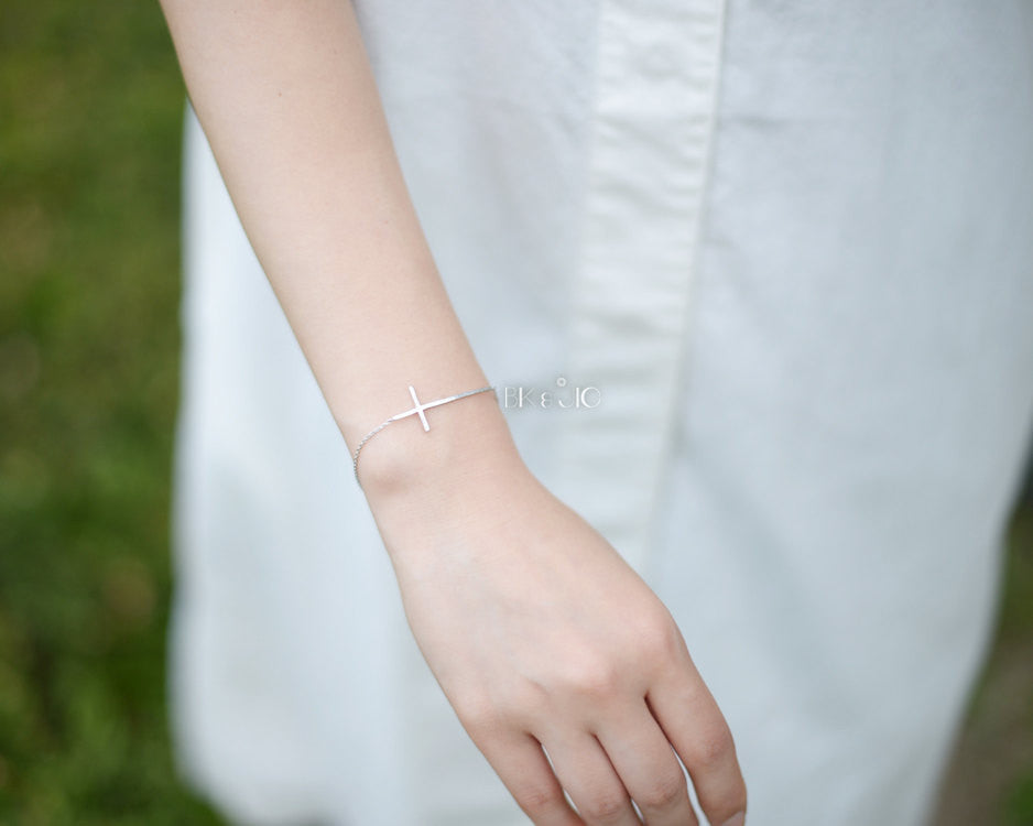 Long Sideways Cross Bracelet