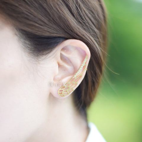 Wing Ear Cuff with Stud Earring