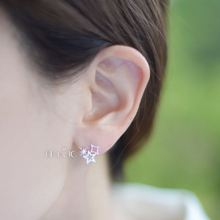 Tiny 3Stars Stud Earrings