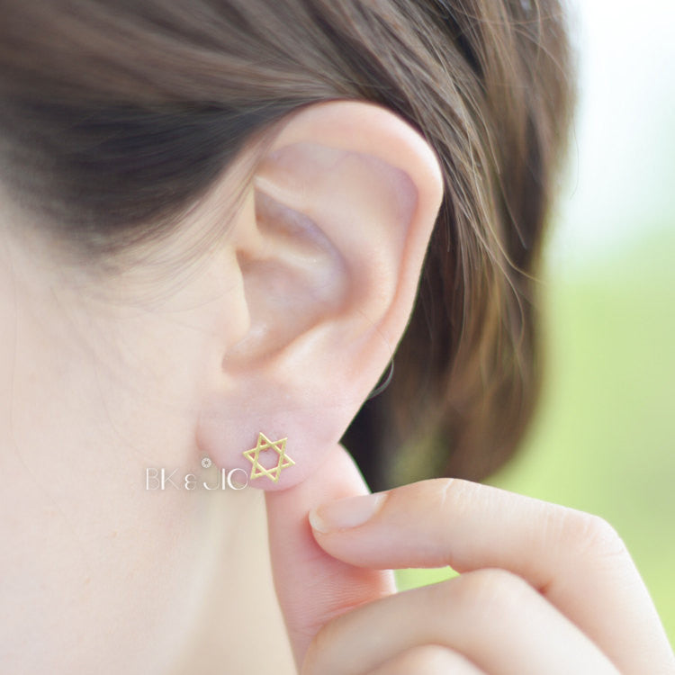 Jewish Star Stud Earrings