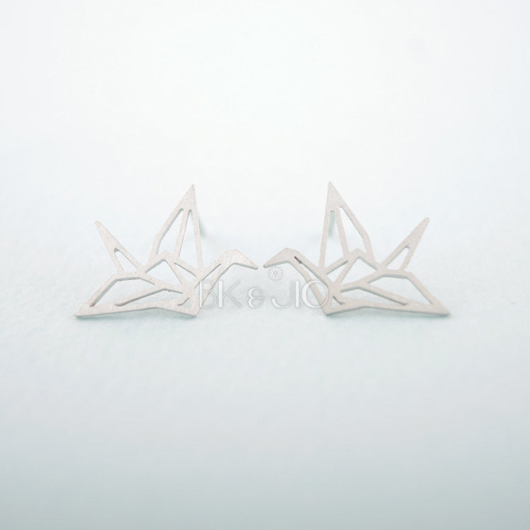 Origami Crane Stud Earrings