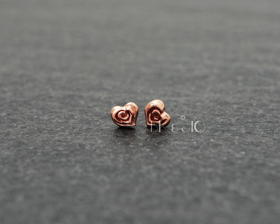 Sterling Silver Heart Rose Stud Earrings