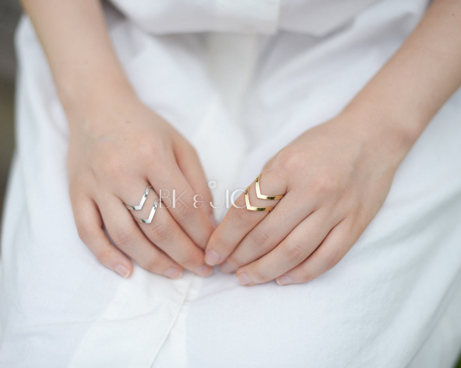 Thick Two Chevron Band/ Knuckle Ring