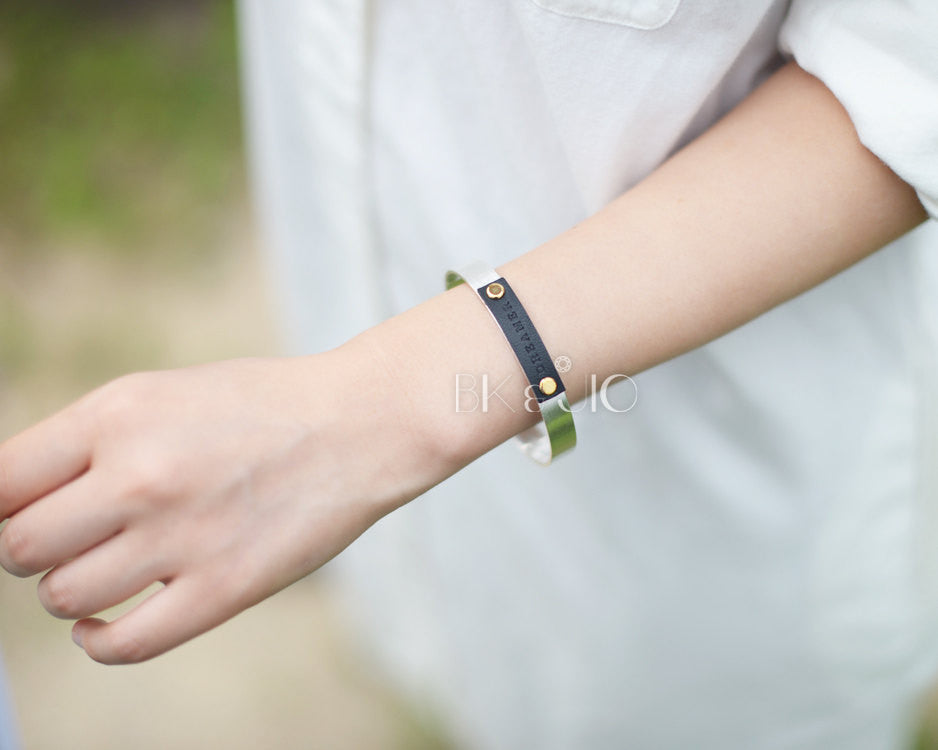 Dreamer Bangle Bracelet with Leather Tag