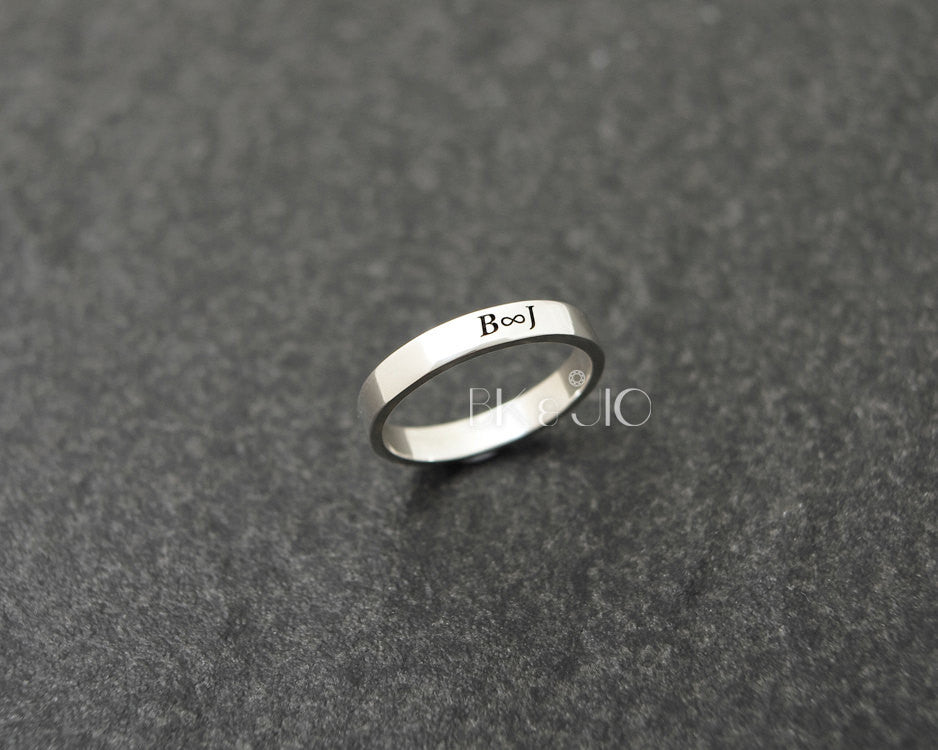 Sterling Silver 3mm Initial Engraved Ring