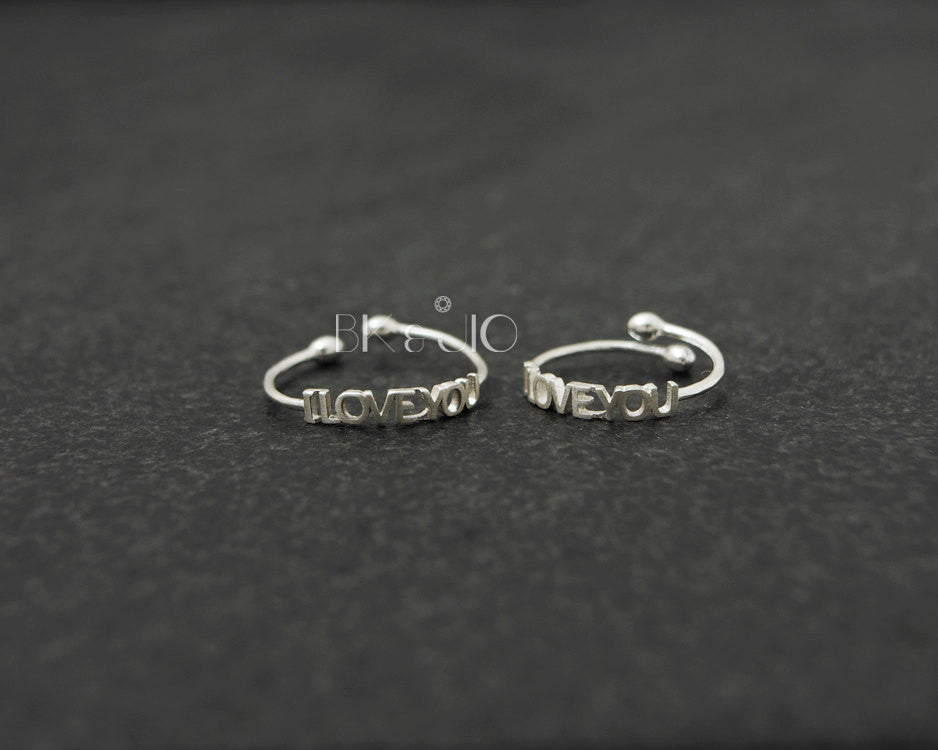 Sterling Silver 'I LOVE YOU' Adjustable Ring