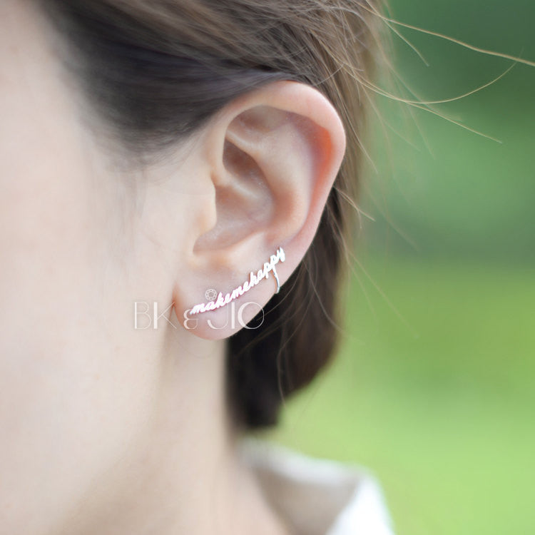Make Me Happy Earcuff with Stud Earring