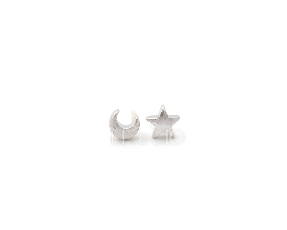Crescent Moon and Star Stud Earrings