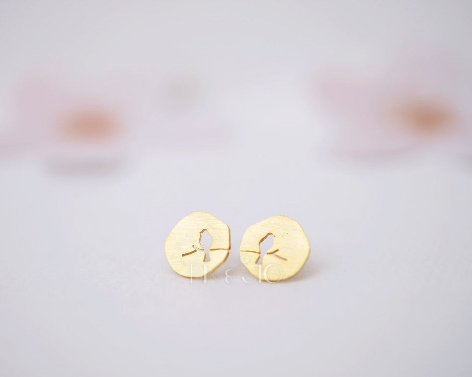 Coins Bird Stud Earrings