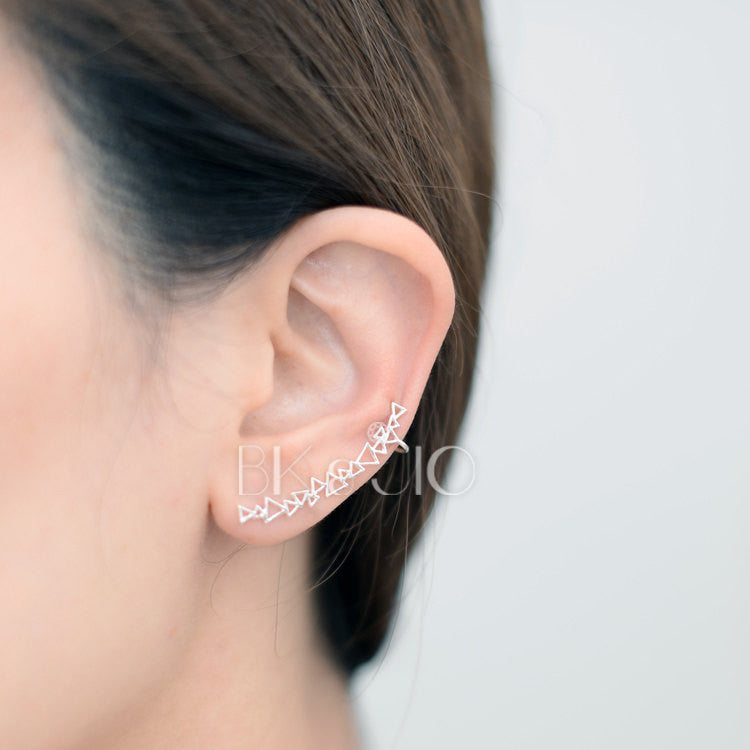 Sterling Silver Linked Triangle Ear Cuff