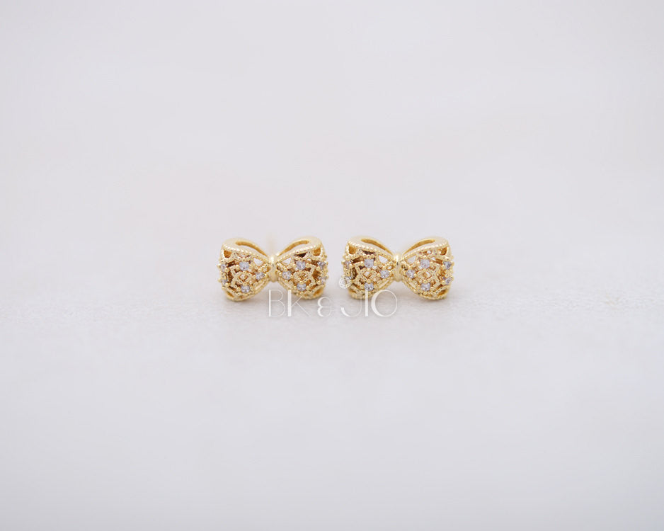 CZ Filigree Bow Stud Earrings