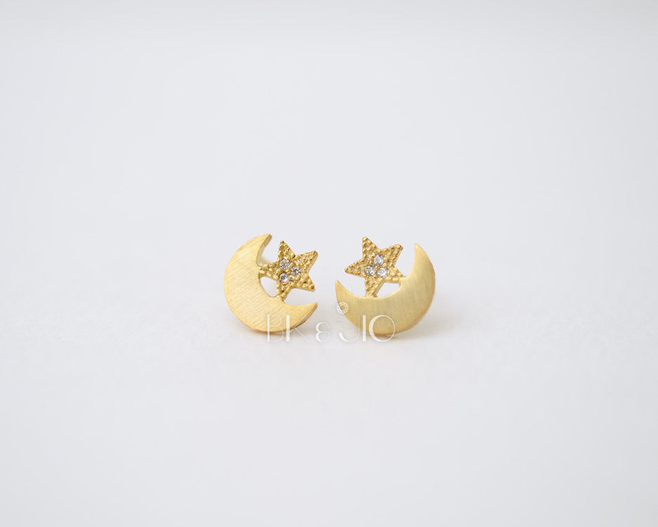 Moon with CZ Star Stud Earrings