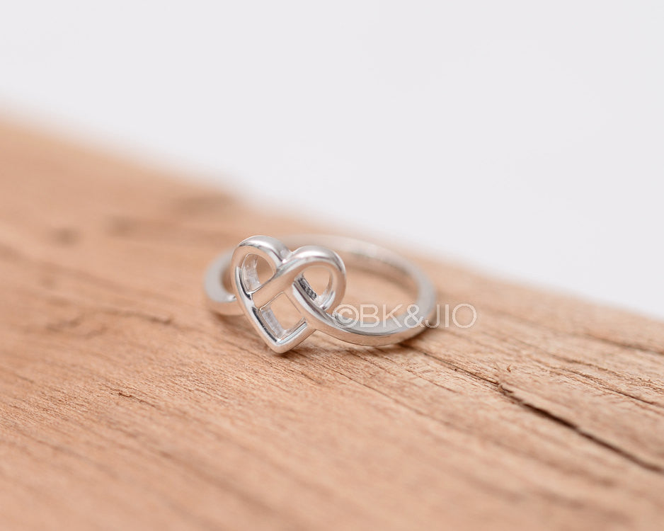 Sterling Silver Initial Engraved Heart Knot Ring