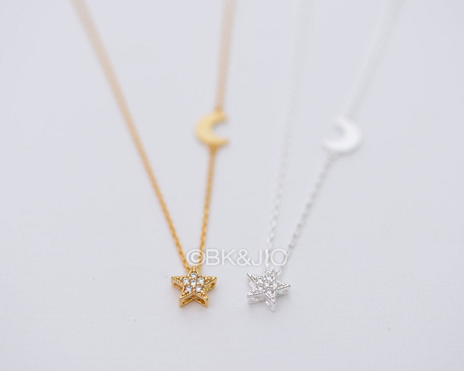 Moon with CZ Star Necklace