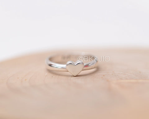 Sterling Silver Initial Engraved Simple Heart Ring