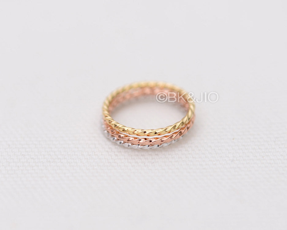 Rope Twisted Band or Knuckle Ring