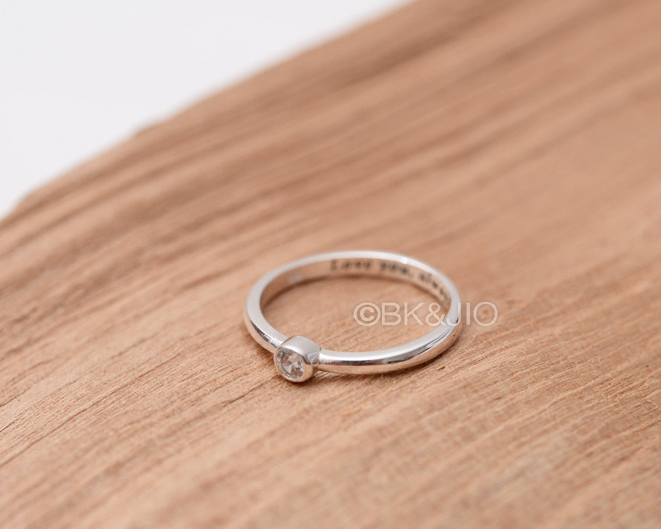 Sterling Silver Initial Engraved Single CZ Ring