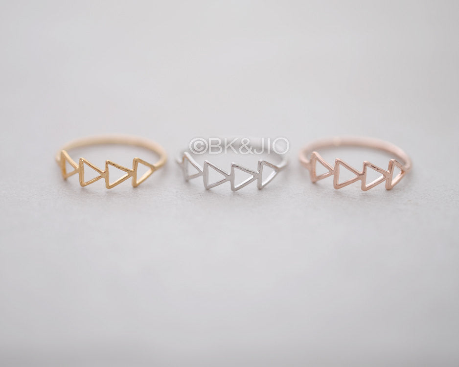 Stacked Tiny Triangles Ring