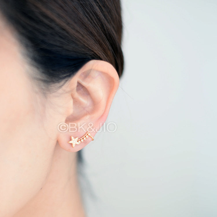 CZ Stars Ear Cuff with Stud Earring