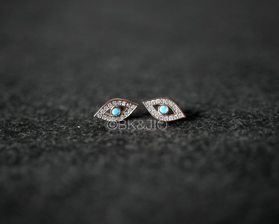 Sterling Silver CZ Evil Eye Stud Earring