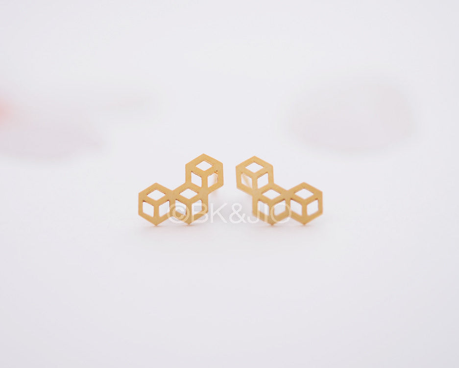 3D Triple Cubed Stud Earrings