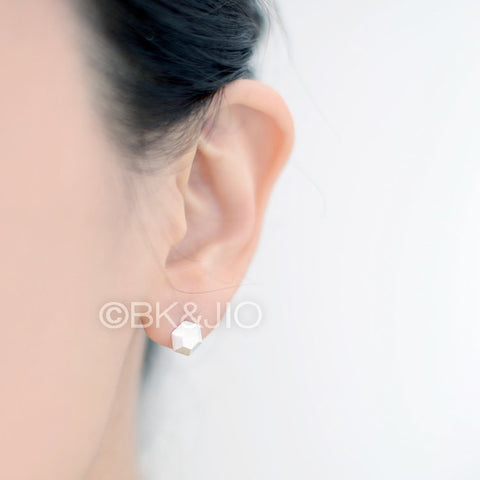 3D Hexagon Stud Earrings