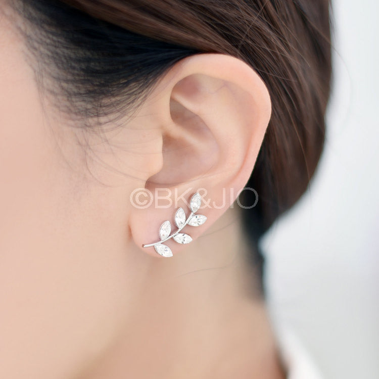CZ Leaves Ear Pin/ Ear Cuff