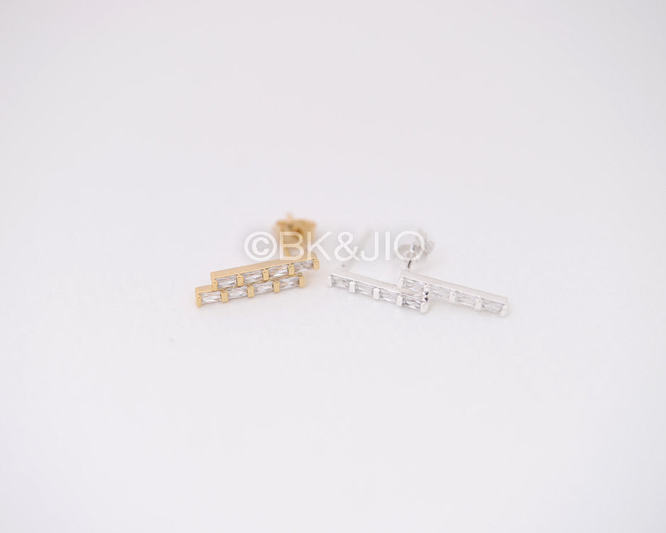 CZ Square Bar Stud Earrings