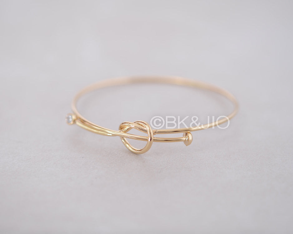 CZ Love Knot Bangle Bracelet