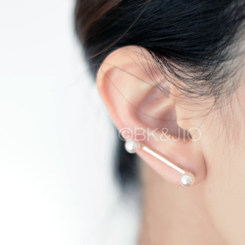 Twin Pearls Bar Ear Pin/ Ear Cuff