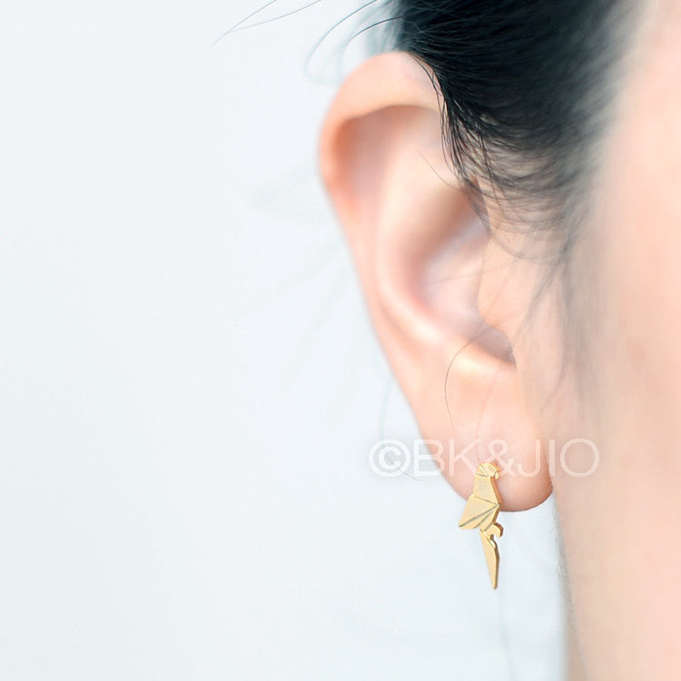 Origami Parrot Stud Earrings