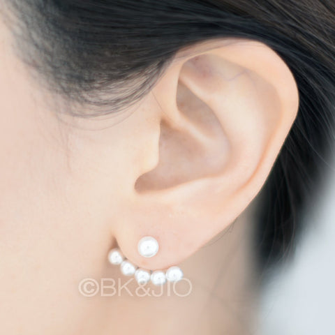 Sterling Silver Swarovski Pearls Ear Jacket