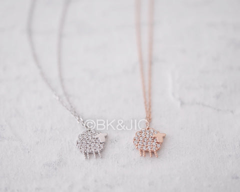 Sterling Silver CZ Sheep Necklace