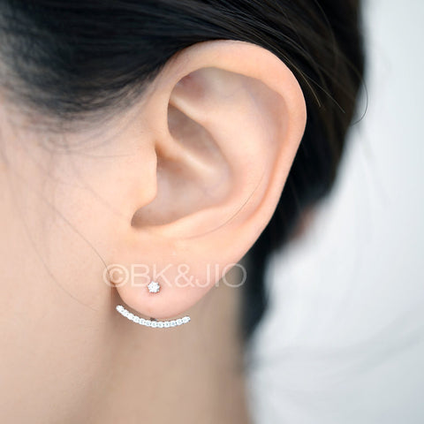 Sterling Silver Curved Line Swarovski Zirconia Ear Jacket