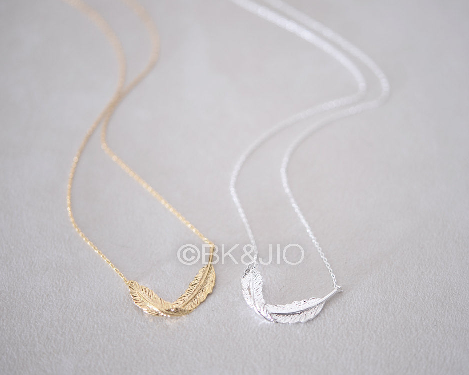 Curved Feather Necklace